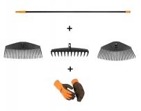 Набор граблей (черенок и три насадки) + перчатки в подарок 135077 - фото