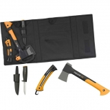 Набор: Топор Х7-XS + пила SW73 + нож универсальный садовый + точилка + сумка для инструментов 129039+120740 - фото